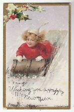 """[54167] 1908 POSTCARD """"HAPPY NEW YEAR"""" (GIRL RIDING ON SLED)"""