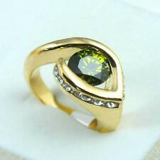 Irresistible 18K gold filled round zircon cut crystal woman ring gift size 7