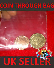 COIN THROUGH BAG‏ TRICK / £1 SPLIT COIN MAGIC - Close Up Magic Trick