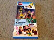 Lego set of 3 Hawaiian Surfers, Hula Girl, and Beach Barbeque Set.  6010813