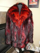 SALE! Gorgeous NEW Scarlet Red Dyed Silver Fox Fur Stroller Coat Jacket