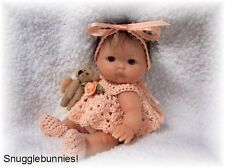 "SnuggleBunnies! DRESS FITS 5"" BERENGUER BABY REBORN OOAK !"