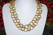 WONDERFUL RUNWAY LARGE COUTURE GOLD TONED METAL CHAIN LINK NECKLACE TOGGLE CLASP