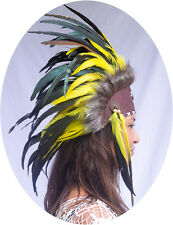 Unique Indian Headdress, Native American - Small Stone - Real Feathers - Yellow