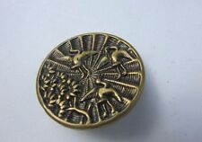 Antique Brass Picture Button Rare Swan Bird Tree Embossed Large Rare