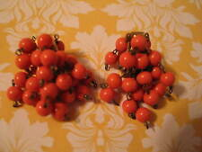 Vintage Signed Castlecliff Cha Cha Earrings Dangles Coral Orange Beads Clip-on