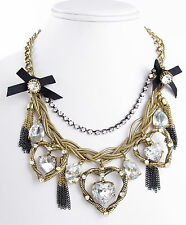 BETSEY JOHNSON Iconic 'Heart of Gold' Hematite & Gold-Tone Frontal Necklace