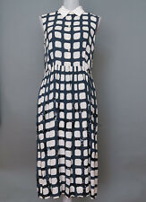 *Max Mara Silk Navy and Ivory Sequin Dress Size 8 MSRP $575