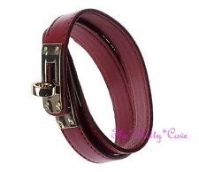 Slim Berry Red Leather Double Wrap Gold Buckle Punk Rock Wristband Bracelet Cuff