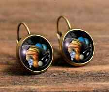 universe galaxy Bronze glass cabochon 18 mm Lever Back Earrings #461