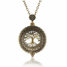 Antique Gold Chain Tree Of Life Magnifying Glass Locket Pendant Necklace Gifts