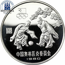 #1169 China 30 Yuan Silber 1980 PP Olympische Spiele in Moskau Fussball im Etui