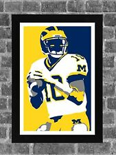Michigan Wolverines Tom Brady Portrait Sports Print Art 11x17