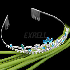 New Bridal Princess Sky Blue Crystal Tiara Wedding Crown Veil Hair Accessory