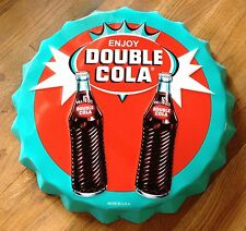 """LARGE DOUBLE COLA  BOTTLE CAP SHAPED MADE IN USA 21 3/4"""" STEEL ADVERTISING SIGN"""