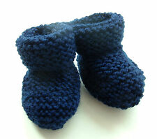 BABY HAND KNITTED BOOTEES / BOOTIES / 0-3 MONTHS NAVY BLUE NEW