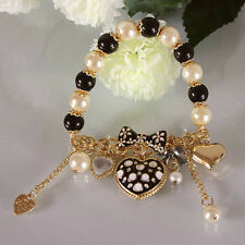 B212 BETSEY JOHNSON Exquisite Stripey Hearts Black and White Heart Bracelet  US