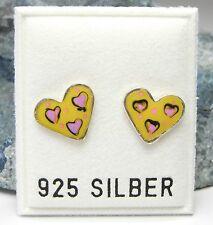 NEU 925 Silber OHRSTECKER HERZ in gelb/rosa OHRRINGE Herze HERZEN