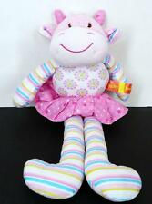 Baby Boo Pink Cow Plush Toy Rattle Floral Stripes Baby Lovey