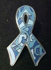 Blue Camo Paisley Silver Trim Cancer Ribbon Colon Prostate Lapel Pin Tac New