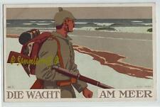 Tarjeta de artistas soldados 1. guerra mundial vela en el mar 1915 coloriert campo post