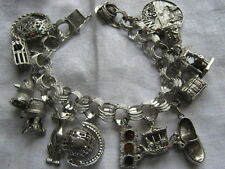 VINTAGE STERLING SILVER RHODIUM PLATED CHARM BRACELET 79 GRAMS