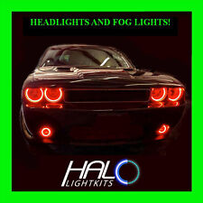 2008-2014 DODGE CHALLENGER RED LED HALO HEADLIGHT+FOG LIGHT KIT by ORACLE