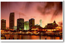 Miami Night Sky - Florida - Travel Art Print POSTER
