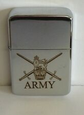 ARMY CREST ENGRAVED CHROME STAR PETROL LIGHTER, BNIB, WIND PROOF, FREE ENGRAVING