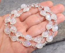 925 Silver Double Row RAINBOW MOONSTONE Bracelet B488~Silverwave*uk Jewellery