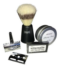 SHAVING KIT. DOUBLE EDGE SAFETY RAZOR. LUXURY SOAP. WILKINSON BLADES & BRUSH