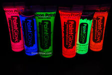 Paint Glow 10ml/.34oz UV Reactive Face and Body Paint- 6 Pack (FREE UV light)