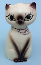 "Vintage Ceramic 4"" Siamese Cat Kitten Salt Pepper Figurine Modern Japan"