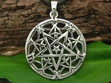 Umgekehrtes Pentagramm Anhänger 925 Silber Drudenfuß mit Band