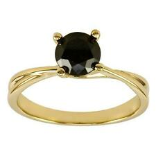 2.00CT ROUND CUT BLACK DIAMOND SOLITAIRE ENGAGEMENT RING 14K YELLOW GOLD