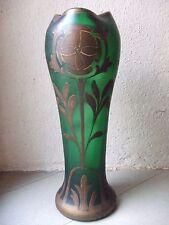 Joli grand vase en verre émaillé art nouveau LEGRAS