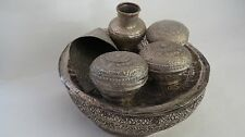 Betel Nut RARE VINTAGE THAILAND Chewing Hand Carved  Silver Tray./ Basket  Set.