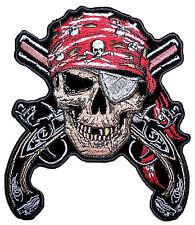 Colorful Pirate Skull Crossed Guns Pistols Large Embroidered Biker Patch