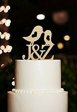 Personalized Kiss Birds With Initial Letter Wedding Cake Topper Keepsake Gifts