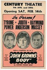 "Vintage Stage Flyer ""JOHN BROWN'S BODY"" - Tyrone Power, Raymond Massey +"