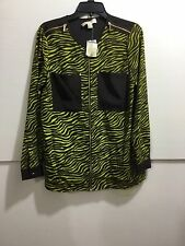 Michael Kors ladies size medium zebra print zipper down shirt