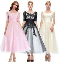 Women Lace Long Bridesmaid Evening Formal Party Cocktail Dress Prom WEDDING Gown