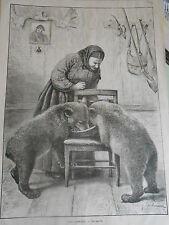Gravure 1880 - Les Oursons Les Jumeaux