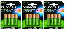 12 Duracell AA 2500 mAh Ultra Rechargeable Batteries - 12 Pack Replaces 2400