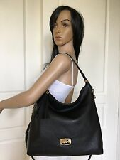 Michael Kors Large Black Crossbody Shoulder Pebbled Leather Hobo Tote Bag Purse