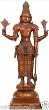 "LORD Vishnu Standing 26.8""Brass Large Statue Hindu GOD Old Figure Big Sale26.8KG"