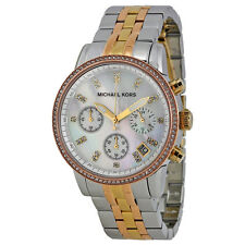Michael Kors Ritz Chronograph Mother of Tricolor Steel Ladies Watch