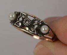 Victorian Rose Cut Diamond & Pearl 19ct Gold Floral Ring t0818