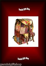 PATCHWORK VELVET AND SUEDE BACKPACK