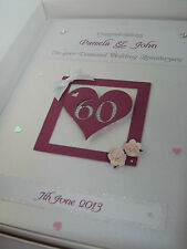 Personalised Diamond 60th Wedding Anniversary Card, Swarovski crystals, boxed